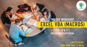 Two Day Workshop on MS Excel VBA (Macros) on February 16 & 17 , 2019